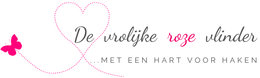Logo van blog over haken en haakpatronen van De vrolijke roze vlinder