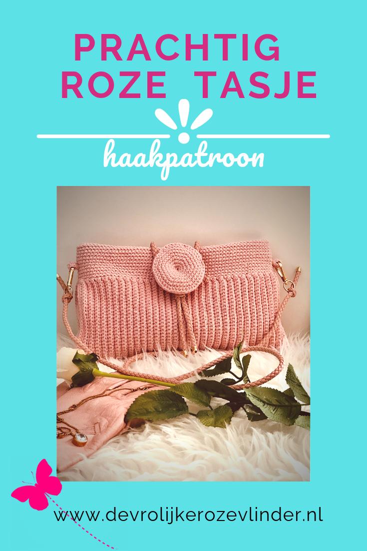 Haakpatroon prachtig roze tasje / clutch