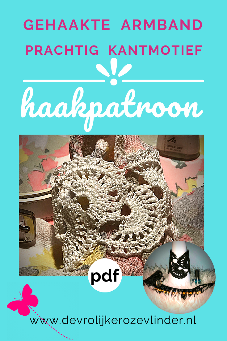 Haakpatroon (pdf; direct downloaden) armband met kantmotief