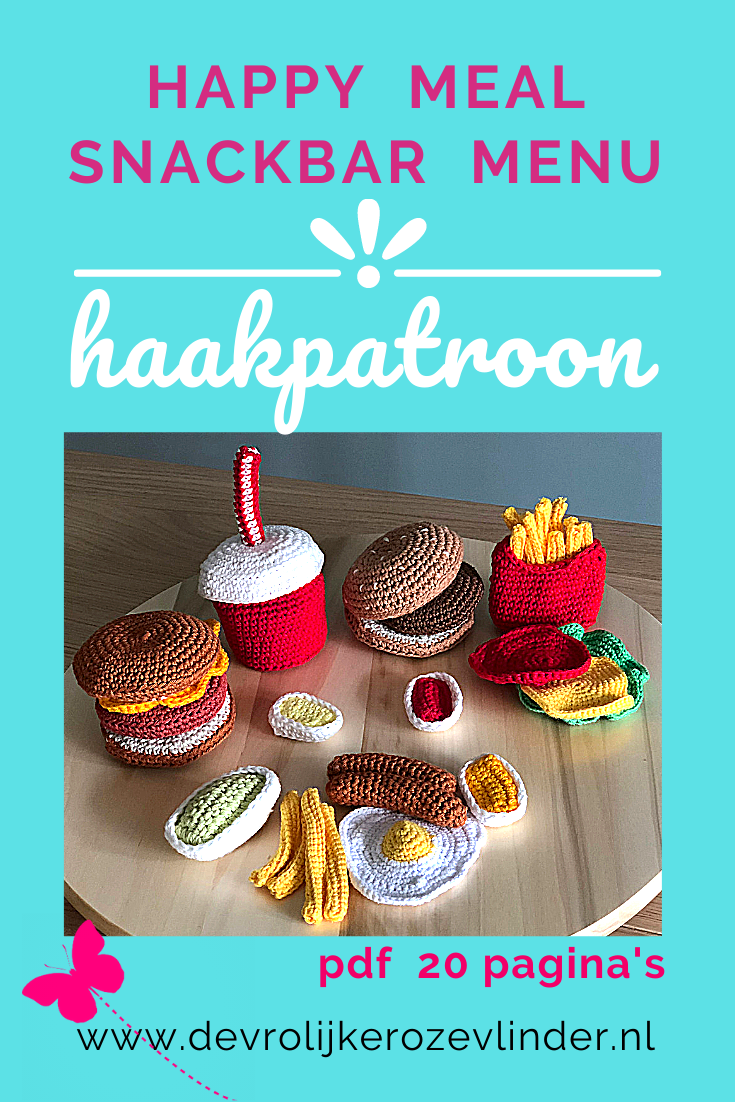 Haakpatroon Happy Meal, play food, snackbar menu